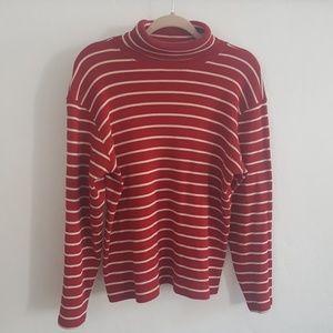 LL Bean Striped Turtleneck Knit Top L